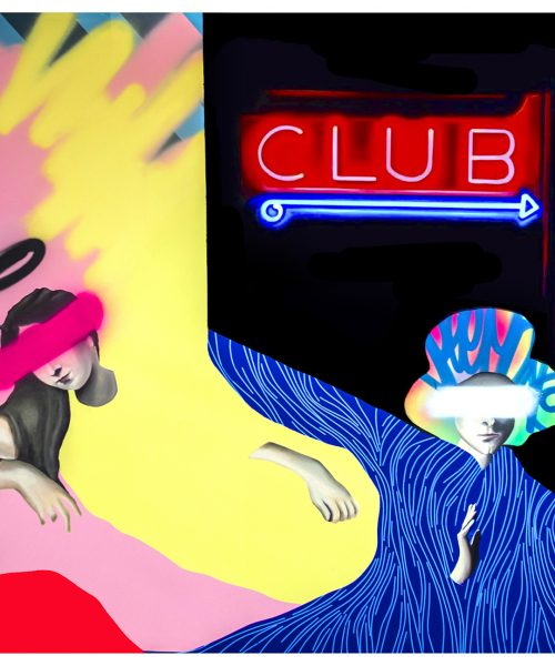 Club. Mixed media on canvas 150 x 150 cm