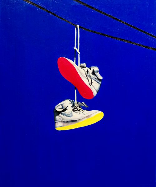 Shoefiti 2. Oil on canvas 81 x 60 cm