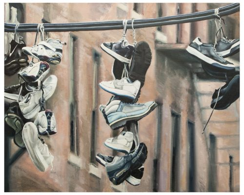 Shoefiti Oil on canvas 100 x 81 cm