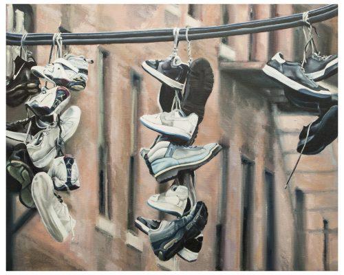 Shoefiti Oil on canvas 100 x 81 cm