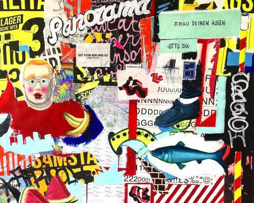 Berlin stuff. Mixed media on paper. 172 x 152 cm.